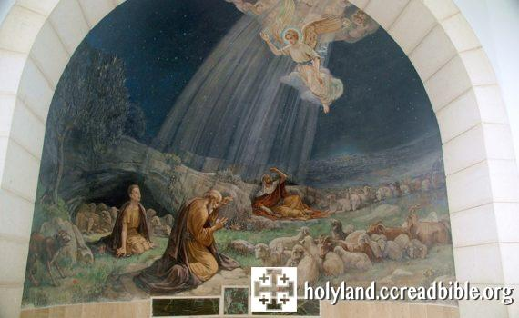 聖堂內的壁畫:天使向牧羊人報喜訊