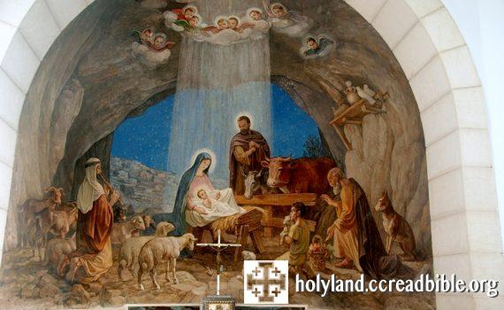 聖堂內的壁畫:牧羊人朝拜誕生的耶穌